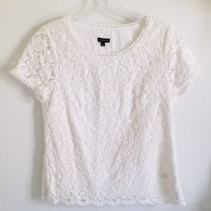 Talbots white cotton lace top lined floral size 8